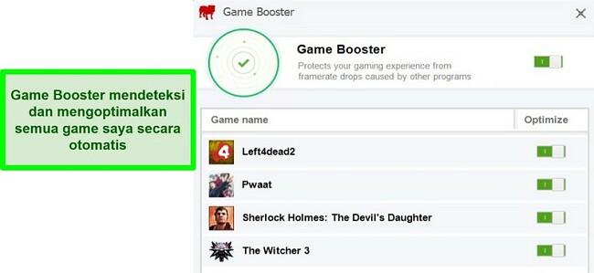 Tangkapan layar fitur Game Booster BullGuard dengan daftar game yang dioptimalkan secara otomatis