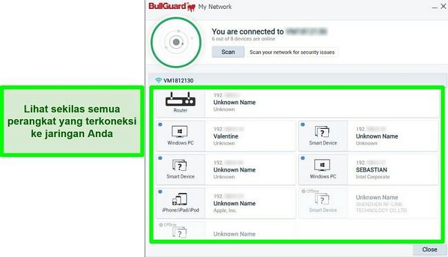 Tangkapan layar Pemindai Jaringan BullGuard dan perangkat yang secara aktif terhubung ke jaringan.