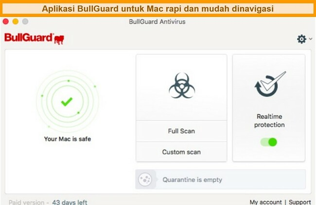 Tangkapan layar antarmuka utama BullGuard untuk Mac
