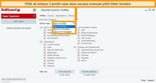 Tangkapan layar pengaturan Kontrol Orang Tua dan filter profil BullGuard.
