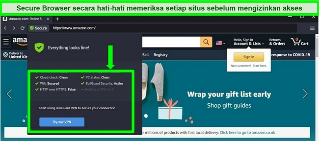 Tangkapan layar dari Browser Aman BullGuard menampilkan semua pemeriksaan keamanan.