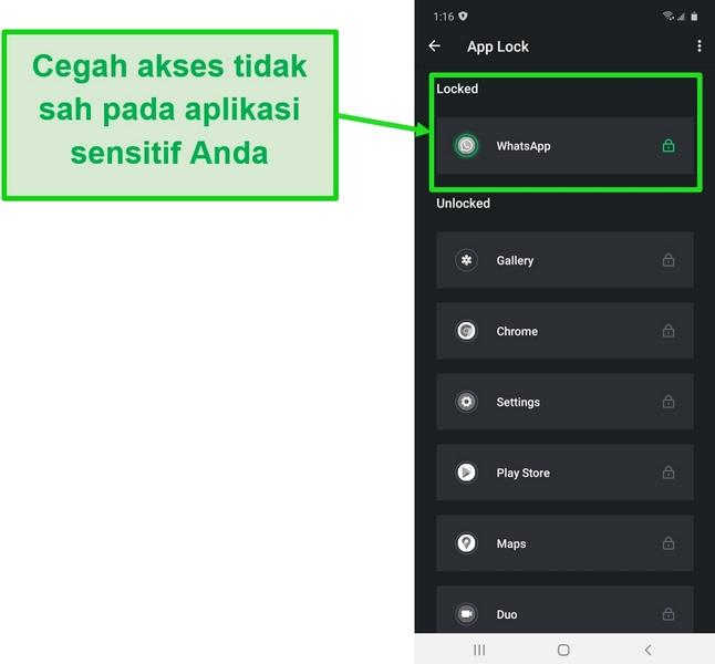 Tangkapan layar yang menunjukkan fitur App Lock pada aplikasi Android TotalAV
