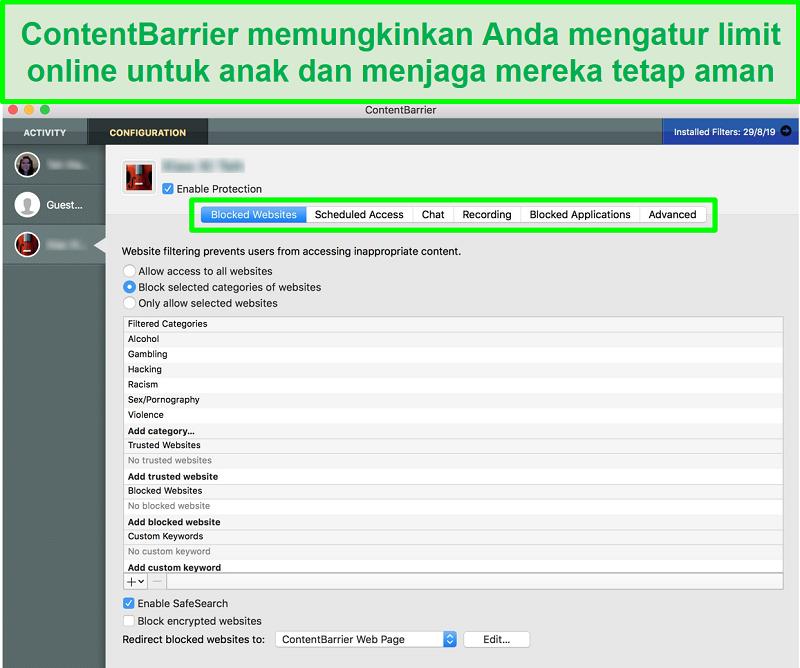 tangkapan layar antarmuka ContentBarrier yang menunjukkan setelan kontrol orang tua yang berbeda