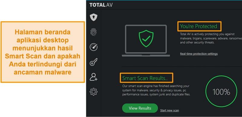 Tangkapan layar menunjukkan beranda aplikasi TotalAV di Windows