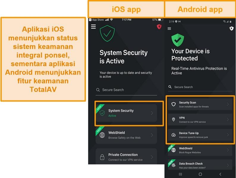 Tangkapan layar menunjukkan perbedaan antara aplikasi iOS dan Android TotalAV