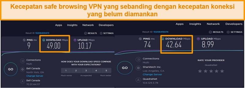 tangkapan layar membandingkan kecepatan koneksi VPN server AS dan tidak aman