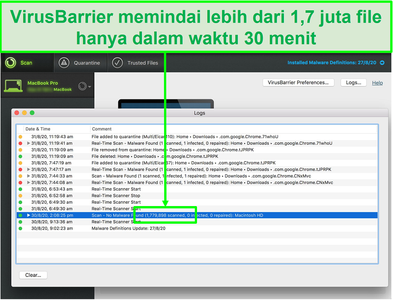 Tangkapan layar dari log pemindaian virus Intego menunjukkannya memindai 1,7 juta file dalam 30 menit