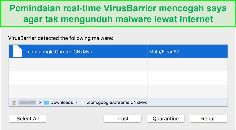 tangkapan layar intego pemblokir malware pop-up