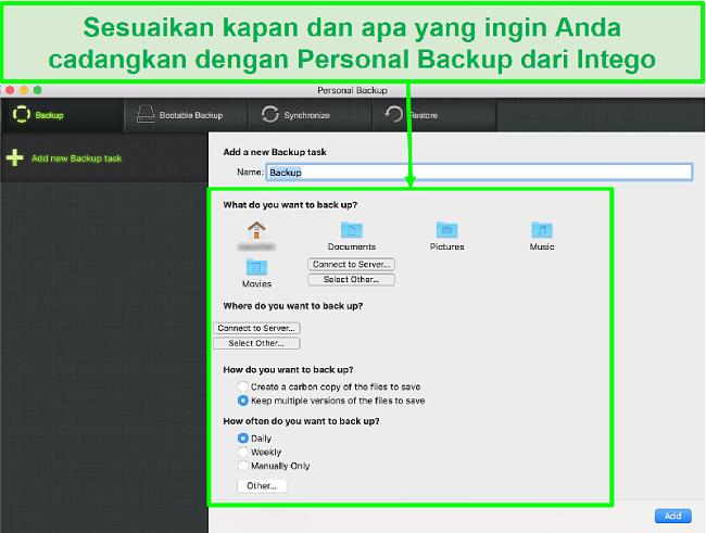 Tangkapan layar dari antarmuka pencadangan pribadi Intego dengan opsi pencadangan data yang dapat disesuaikan