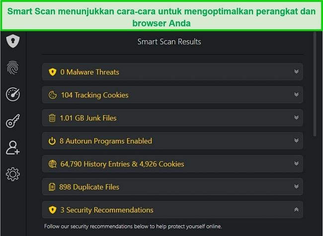 Tangkapan layar dari hasil Pemindaian Cerdas TotalAV
