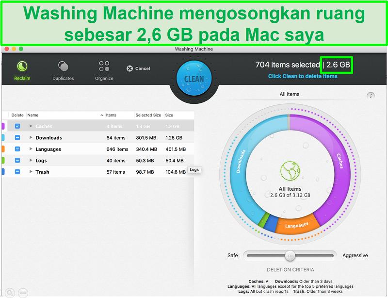 Tangkapan layar fitur Mesin Cuci di Intego yang mengidentifikasi file sampah yang akan dihapus