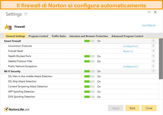 Screenshot delle impostazioni del firewall di Norton 360 su Windows.