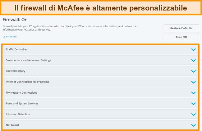 Screenshot delle funzionalità di McAfee Firewall