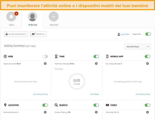 Screenshot delle impostazioni del controllo genitori di Norton 360.