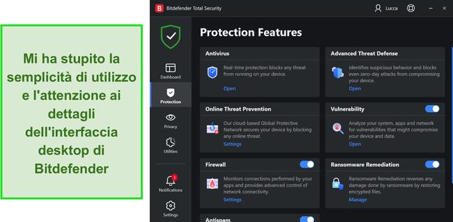 Screenshot dell'interfaccia dell'app Windows di Bitdefender