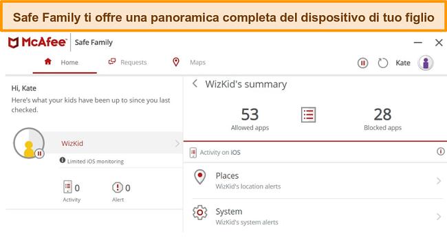 Screenshot della funzione di controllo genitori di McAfee Safe Family collegata a un iPhone