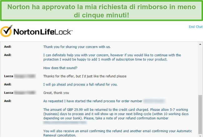 Screenshot della ricezione di un rimborso tramite la live chat di Norton.