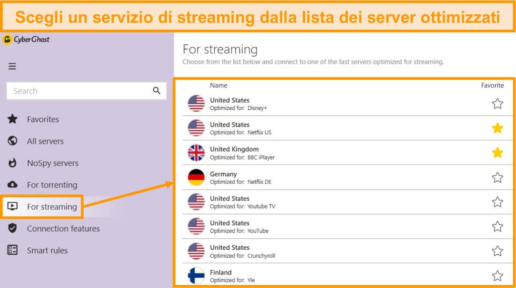 Screenshot dei server di streaming ottimizzati di CyberGhost nell'app Windows