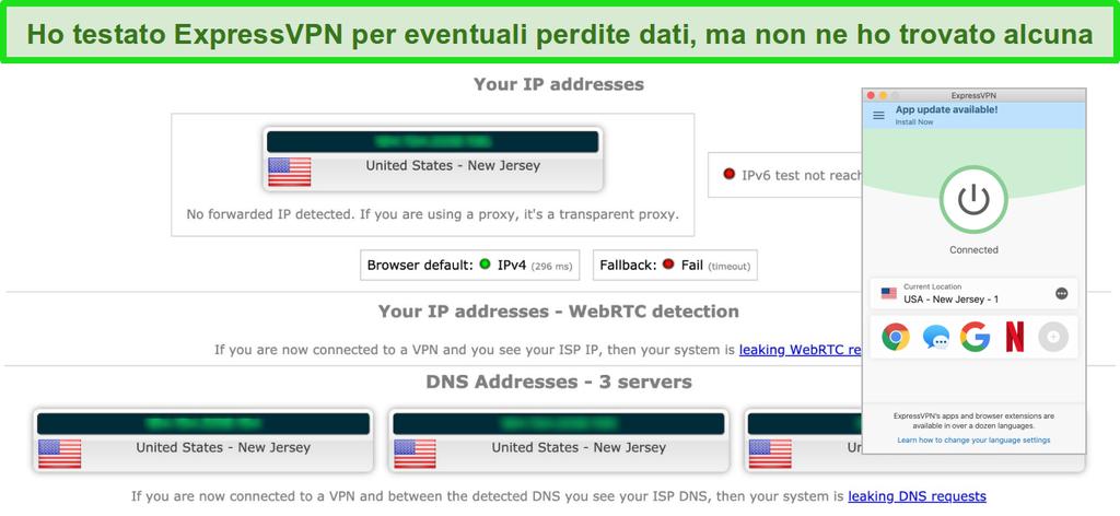 Screenshot di ExpressVPN che ha superato correttamente un test di perdita IP, WebRTC e DNS mentre è connesso a un server negli Stati Uniti