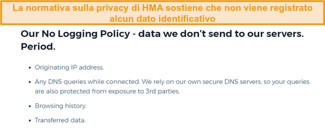 Screenshot di HMA VPN (Hidemyass) e relativa informativa sulla privacy di non registrazione