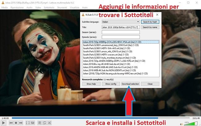 Scarica sottotitolo con VLC