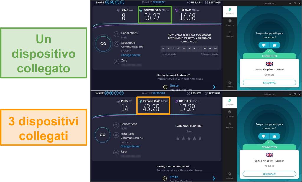 Screenshot della differenza di velocità tra 1 dispositivo connesso e 3 dispositivi connessi