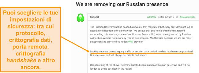Screenshot del sito Web della VPN Private Internet Access con un post sul blog che descrive il motivo del ritiro di PIA dalla Russia