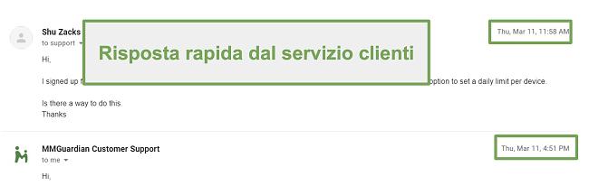 Screenshot della risposta rapida dell'assistenza clienti