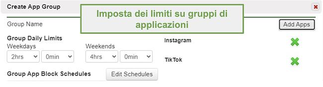 Screenshot dell'impostazione dei limiti su gruppi di app