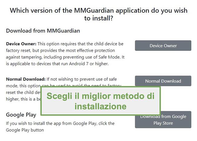 Screenshot della selezione del tipo di installazione