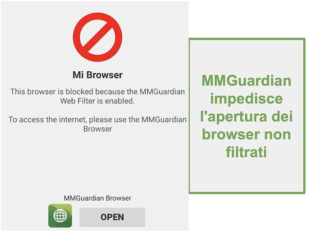 Screenshot di MMGuardian che impedisce l'apertura di browser non filtrati