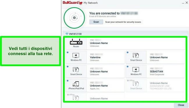 Screenshot dello scanner di rete di BullGuard e dei dispositivi collegati attivamente a una rete.