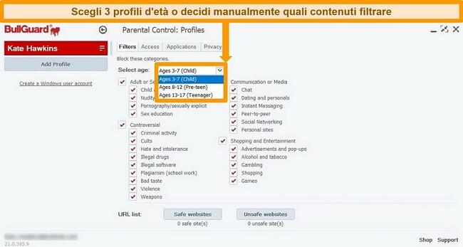 Screenshot delle opzioni di controllo parentale di BullGuard.