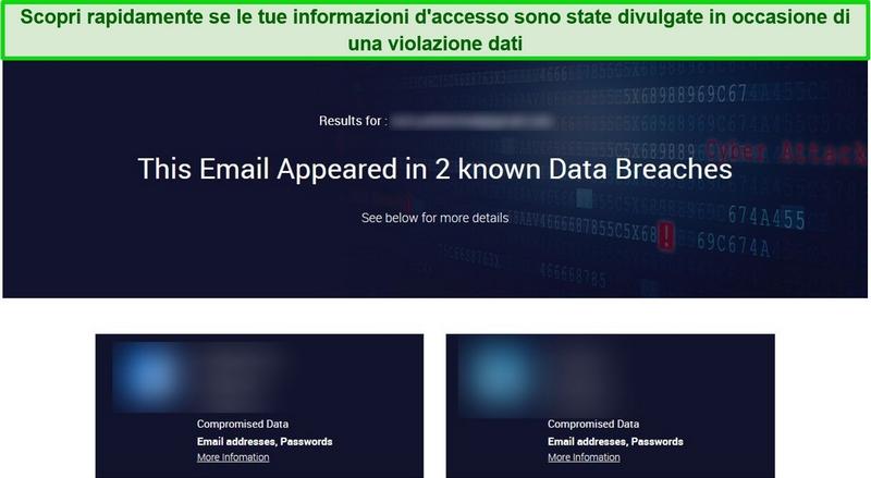 Screenshot che mostra i risultati del test di violazione dei dati