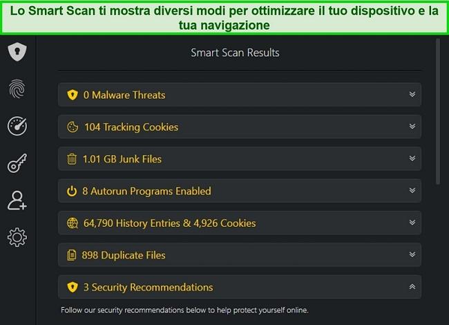 Screenshot del risultato di Smart Scan di TotalAV