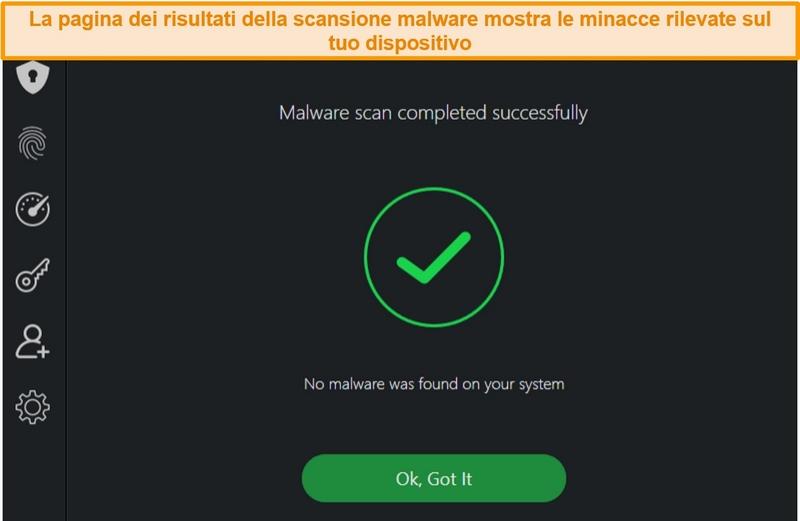 Screenshot dei risultati della scansione antivirus di TotalAV