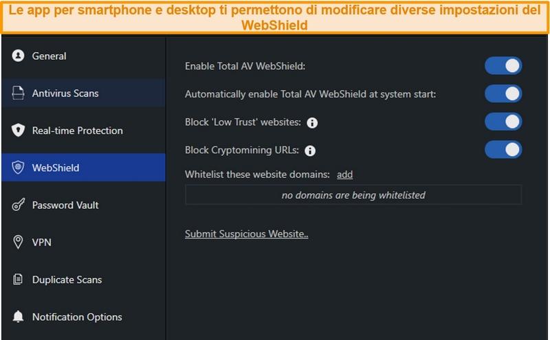 Screenshot delle impostazioni di WebShield sull'app desktop di TotalAV