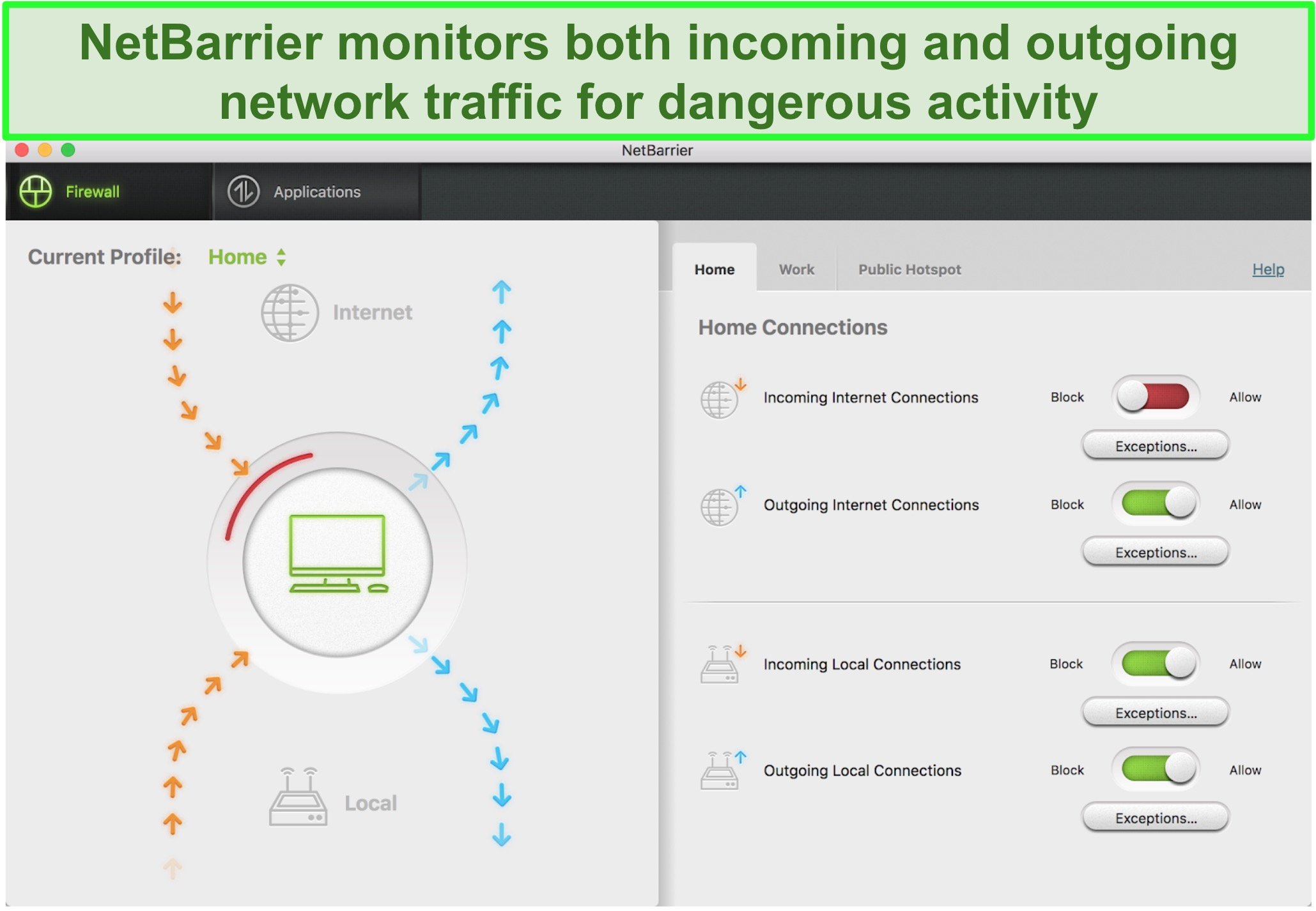 Screenshot of Intego NetBarrier user interface protecting incoming and outgoing network traffic