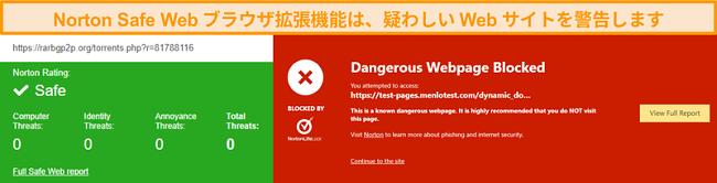 サイトが安全または危険であることを確認するNortonSafeWebのスクリーンショット。