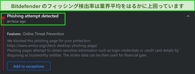 Bitdefenderデスクトップフィッシングの警告。