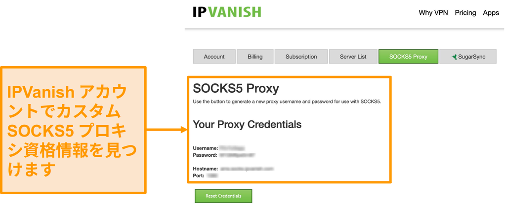 Webサイト上のIPVanishの無料のSOCKS5プロキシサーバー資格情報のスクリーンショット