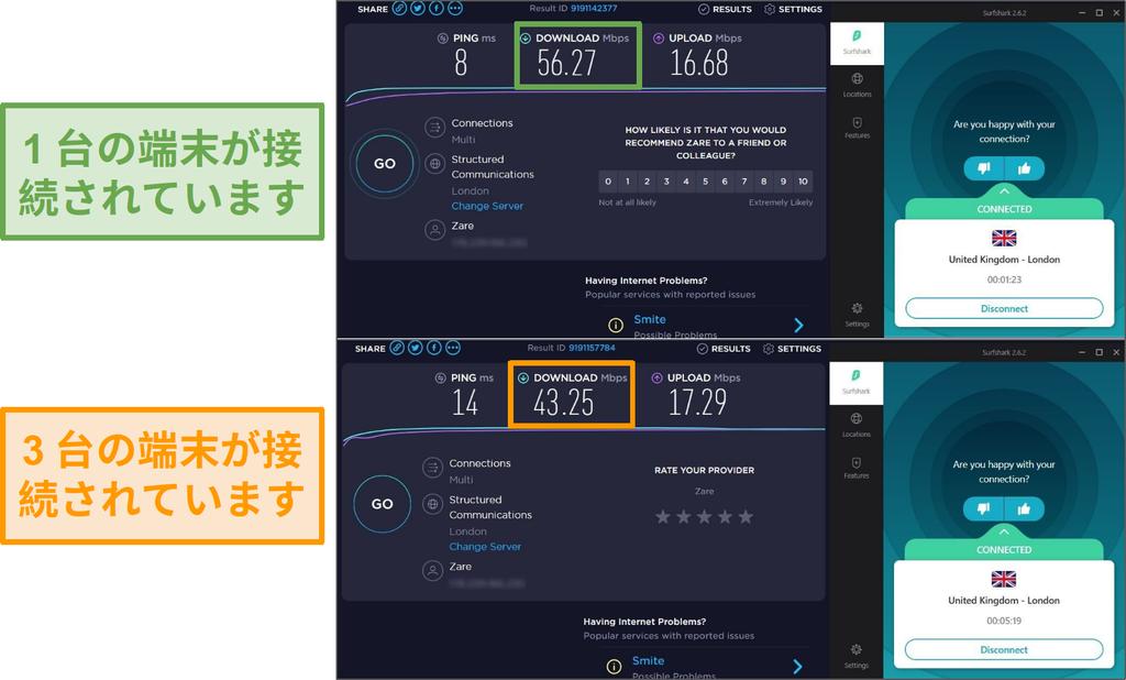 接続されている1台のデバイスと接続されている3つのデバイスの間の速度差のスクリーンショット
