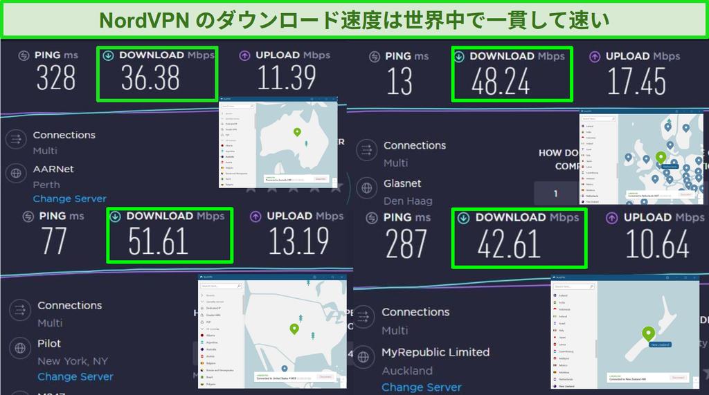 さまざまなグローバルサーバーに接続されたNordVPNのスクリーンショットとOoklaの速度テスト