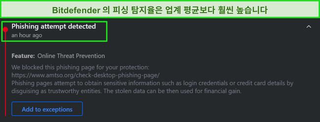 Bitdefender 데스크톱 피싱 경고.
