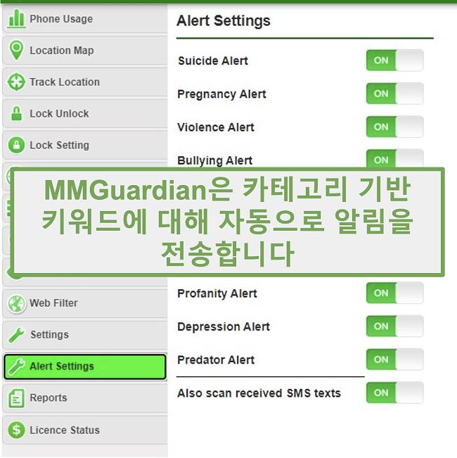 카테고리 기반 키워드에 대한 경고를 자동으로 보내는 MMGuardian의 스크린 샷