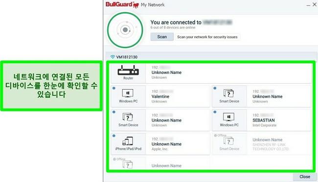 BullGuard의 네트워크 스캐너 및 네트워크에 활발하게 연결된 장치의 스크린 샷.