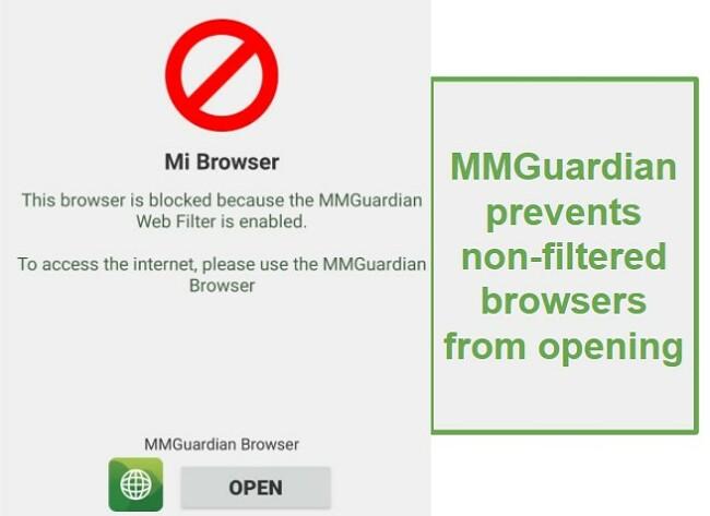 MMGuardian blocks browsers