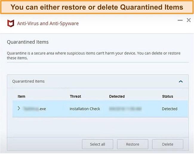Screenshot of McAfee's Quarantine feature