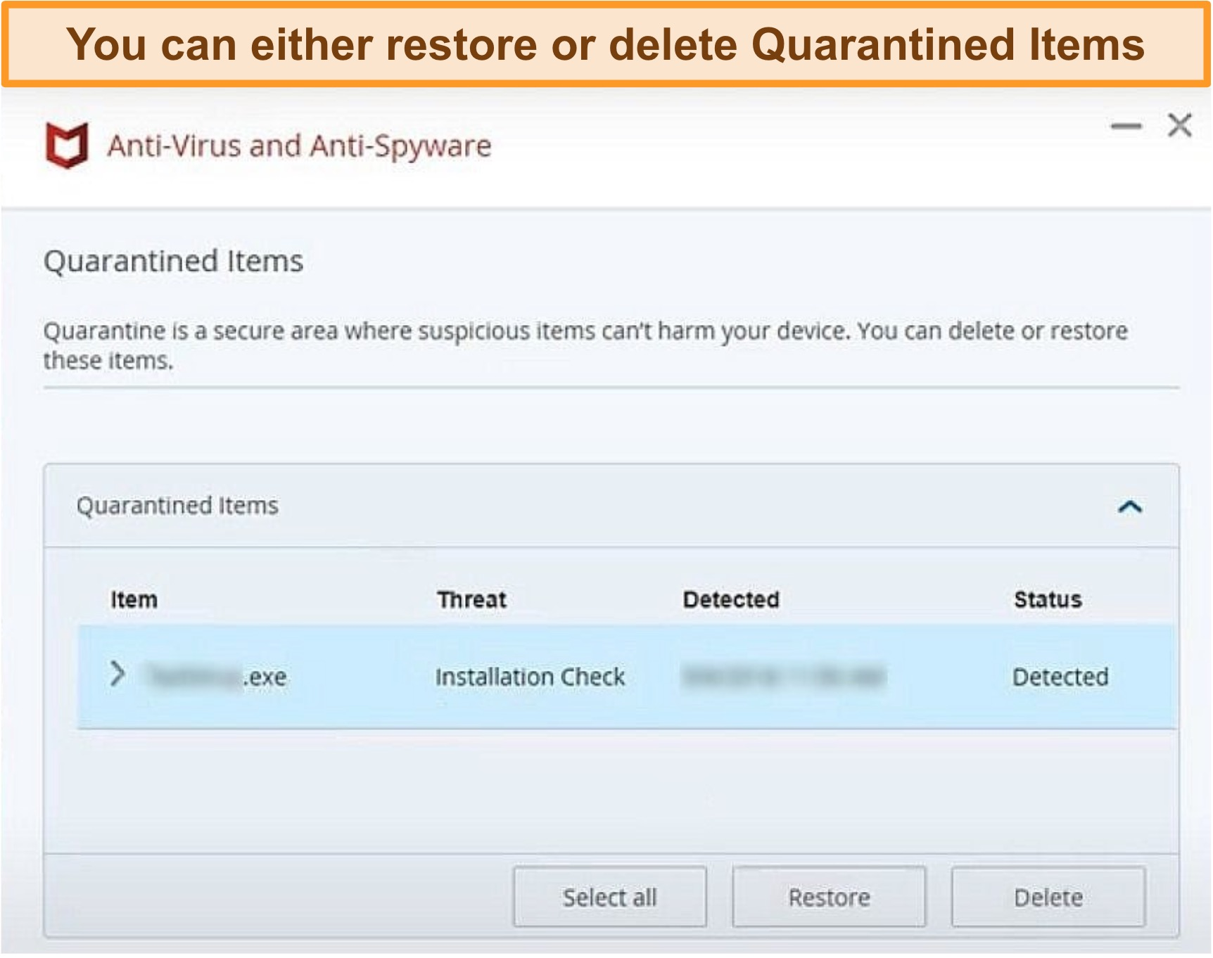 Screenshot of McAfee's Quarantine feature