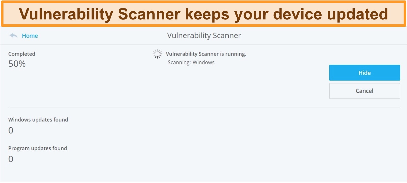 Screenshot of McAfee's Vulnerability Scanner performing a system scan.